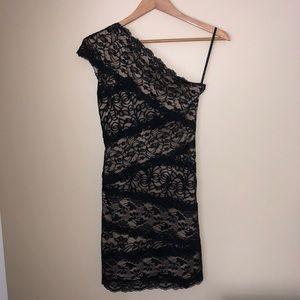 BEBE Black One Shoulder Lace Cocktail Dress